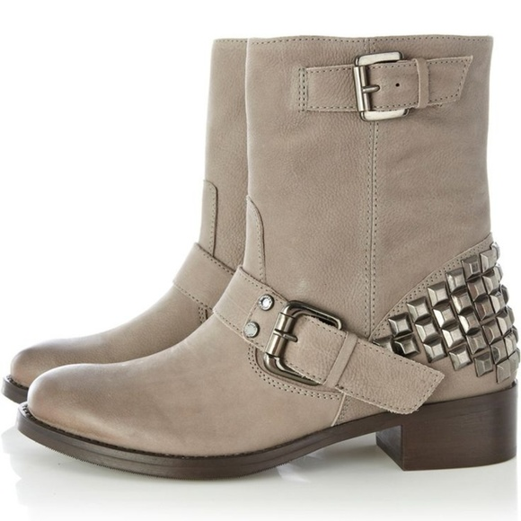 Studded Nubuck Ankle Boots